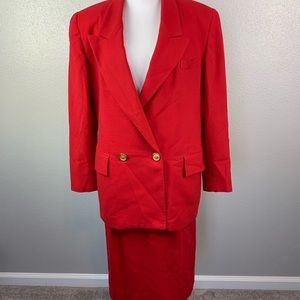 Red vintage Christian Dior skirt suit
